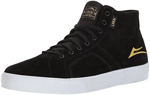 Lakai Flaco Hoge Skate Schoen Zwart / Goud Suede