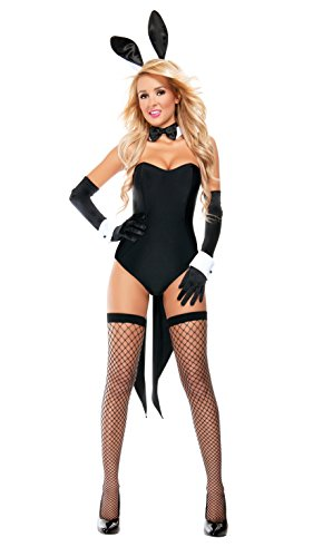 Starline Women's Naughty Nights Bunny Sexy 4 Piece Costume Set, Black, Small (Bunny Costumes)