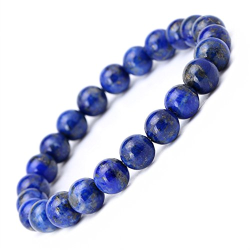 8mm Afghanistan Lapis Lazuli Genuine Semi precious Elastic Stretch Beaded Bracelet Unisex