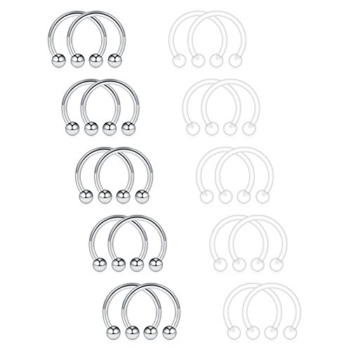 Ruifan 20PCS 16G 3mm Clear UV Flexible Acrylic & Stainess Steel Nose Septum Horseshoe Earring Eyebrow Lip Helix Tragus Cartilage Piercing Ring 16G (Ring Uv Acrylic Body Jewelry)