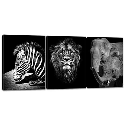iKNOW FOTO Black and White Canvas Wall Art Animals Picture Prints Zebra Lion and Elephant Image Poster on Canvas Framed and Stretched Ready to Hang Home Decoration 12x16inchx3pcs