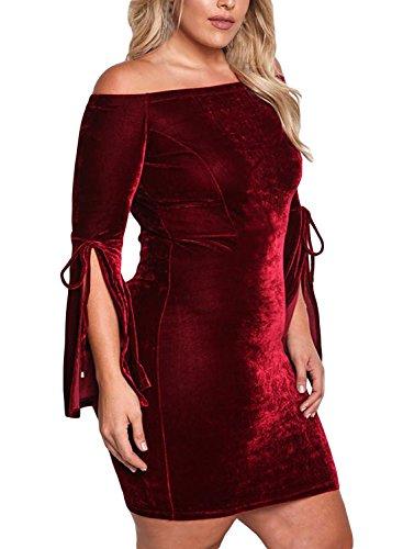 44af1e8434c412 Aleumdr Damen Plus Size Samt Kleider Schulterfrei Partykleid Trompetenärmel  Sexy Etui Minikleid Rot N9oCEy1