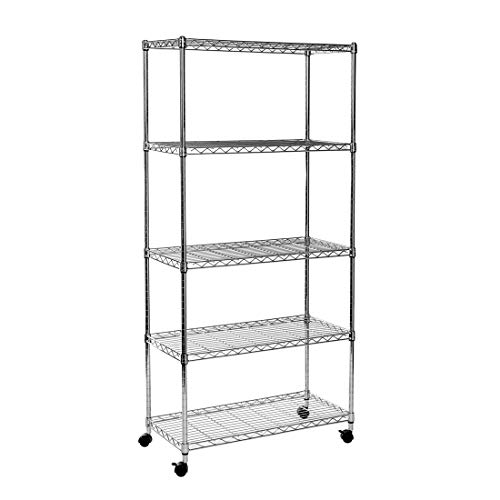 (Seville Classics 5-Tier Steel Wire Shelving with Wheels, 30