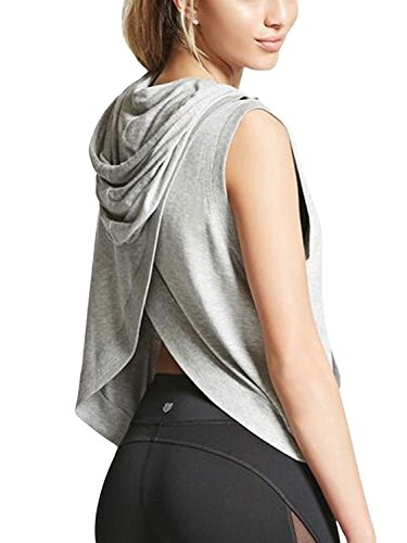 PERSUN Womens Grey Cotton Blend Wrap Back Sleeveless Athletic Hoodie T-shirt,Large
