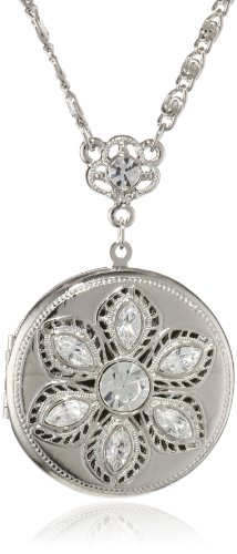 """Signature 1928 """"Signature Collection"""" Silver-Tone Crystal Round Locket Necklace, 30"""""""