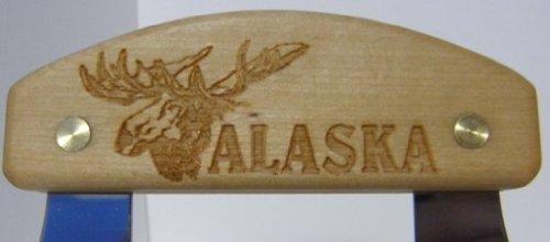 Alaskan Inupiat Style Ulu with Moose Etched Birchwood Handle, 6.25'' Blade