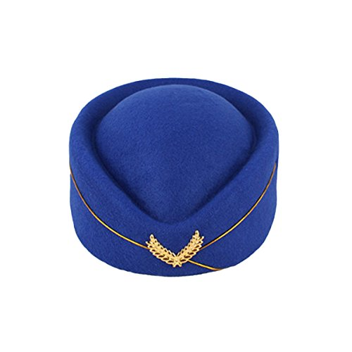 BESTOYARD Stewardess Hat Wool Cap Flight Attendant Hat Stewardess Cap for Costume Cosplay Costume Accessories (Royal Blue) (Flight Hat Attendant)