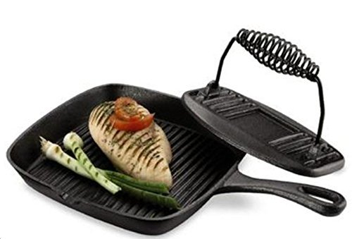 Essential Home Cast Iron Grill Pan and Press Set Frying Pan Kitchen Cookware