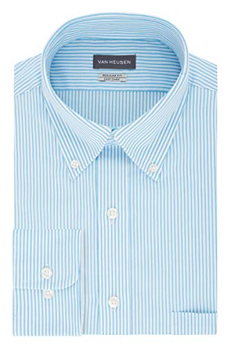 Dress Button Shirt Mens Down (Van Heusen Men's Pinpoint Regular Fit Stripe Button Down Collar Dress Shirt, Periwinkle 17.5