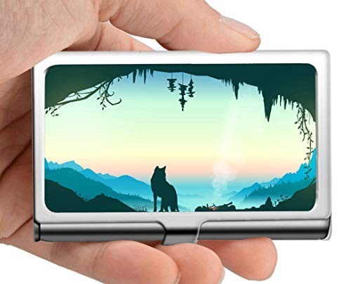 (Professional Business Card Holder Stainless Steel,Sun Fantasy River Scenery Name Card)