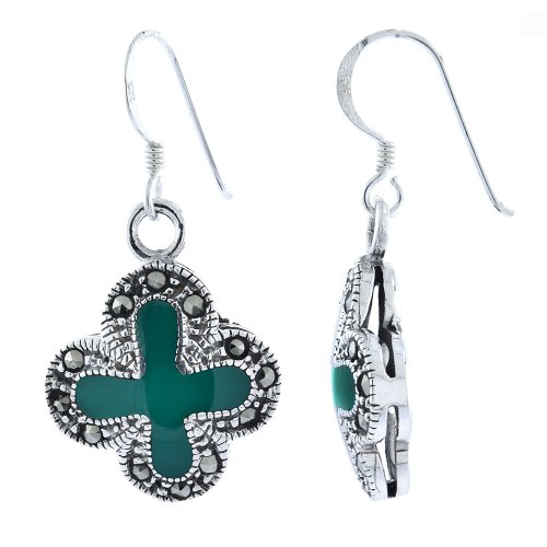 - Sterling Silver Green Cross Marcasite Dangle Earrings, 1 3/8 inch long