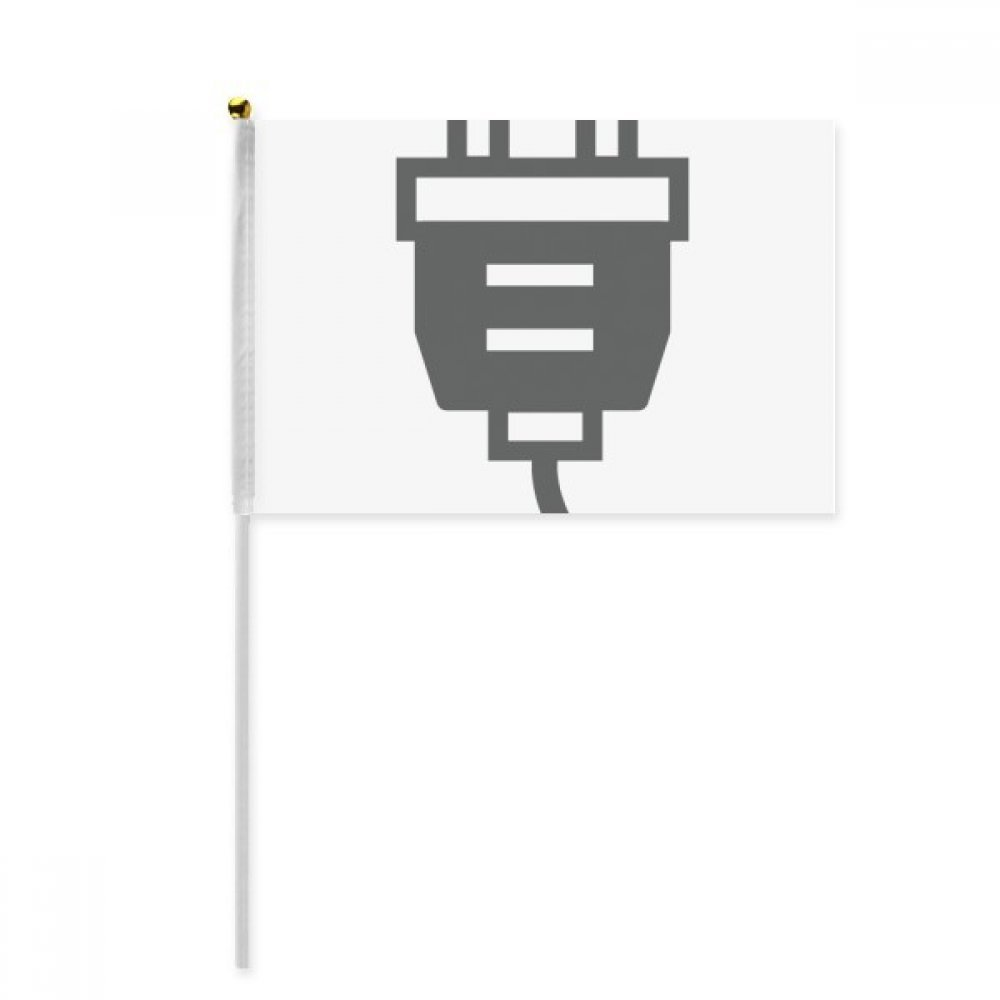 Black Charging Cable Plug Socket Pattern Hand Waving Flag 8x5 inch Polyester Sport Event Procession Parade 4pcs