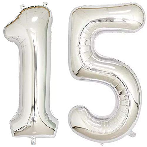 Tellpet Silver Number 15 Balloon, 40 Inch ()