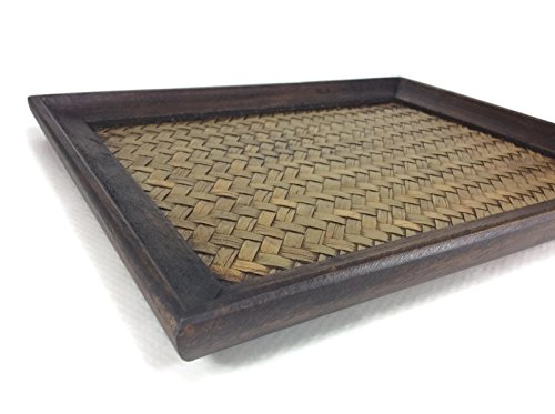 (Tray Serving Handmade Bamboo Oriental Wood Vintage Restaurant Wooden Handcraft 8 x 10 Inches)