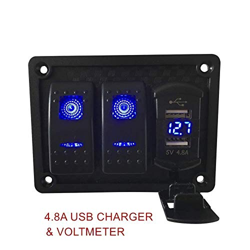 Switchtec 2 3 5 7 Gang Rocker Switch Panel with 4.8 Amp Dual USB Rocker Style Fast Charger w/Voltmeter, Blue Backlit Led, Pre-Wired switches and USB Charger. (4.8A Blue Style with 2 Switches)