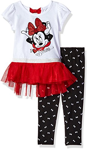 Minnie Mouse Baby Outfits - Disney Girls' 2-Piece Minnie Mouse Tunic with Tulle Legging Set, White, 18M