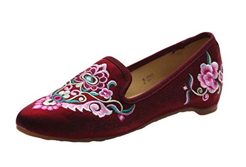 AvaCostume Womens Exotic Embroidery Satin Point Toe Mule Loafer Shoes Red