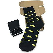 Mustache Socks (Black with yellow Mustache) with Mustache Cufflinks