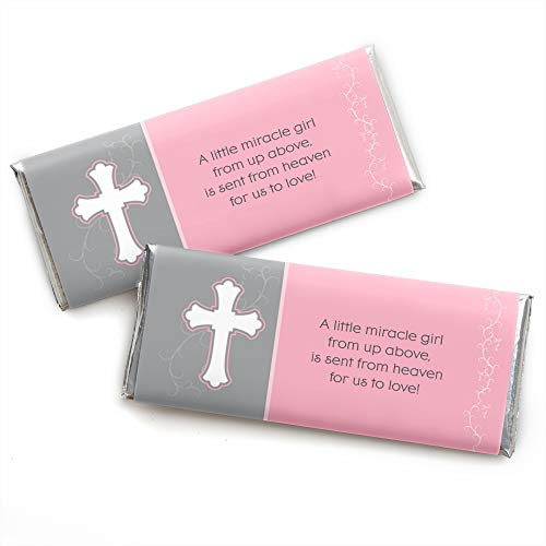 - Little Miracle Girl Pink & Gray Cross - Candy Bar Wrapper Baptism or Baby Shower Favors - Set of 24