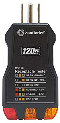 Southwire Tools & Equipment 40012S Receptacle Tester, Black