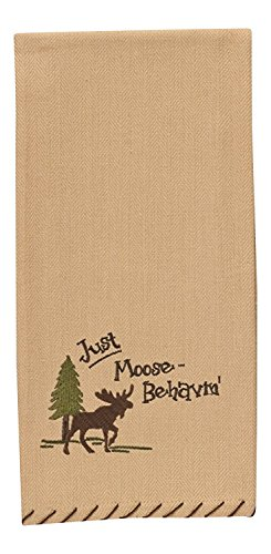 Park Designs Just Moose-Behavin' Embroidered Moose Lodge Camping Kitchen Dish Towel 28 Inch