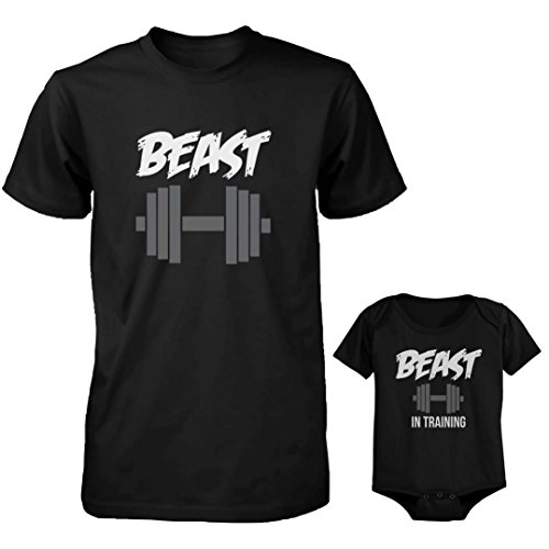 0d380d67d2 Daddy and Baby Matching T-Shirt and Baby Onesie Set - Beast and Beast in