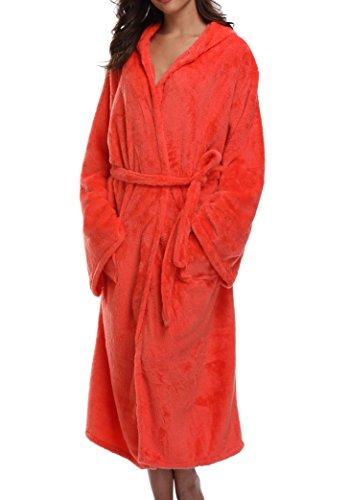1stmall Fleece Robe, Long Hooded Bathrobe for Women's with Soft Velvet Bathrobe, Tangerine M ()