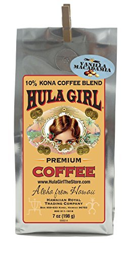 Hula Girl 10% Hawaiian Kona Coffee Blend Vanilla Mac Nut 7oz bag (Mac Nut)