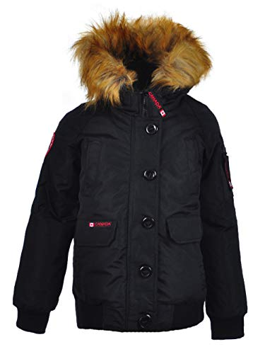- CANADA WEATHER GEAR Big Girls' Insulated Flight Jacket - Black/Natural, 14-16