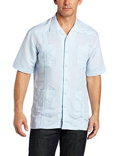 Cubavera Men's Short Sleeve Traditional Guayabera Shirt, Cashmere Blue, Small