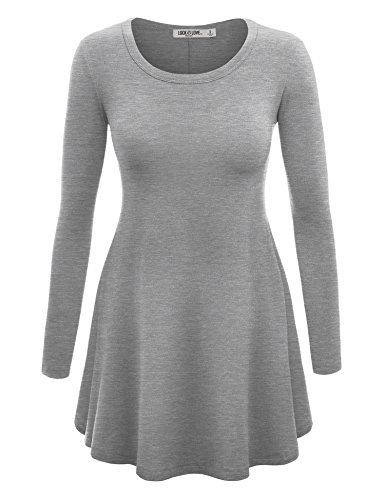(WT767 Womens Long Sleeve Scoop Neck Trapeze Tunic L HEATHER_GREY)