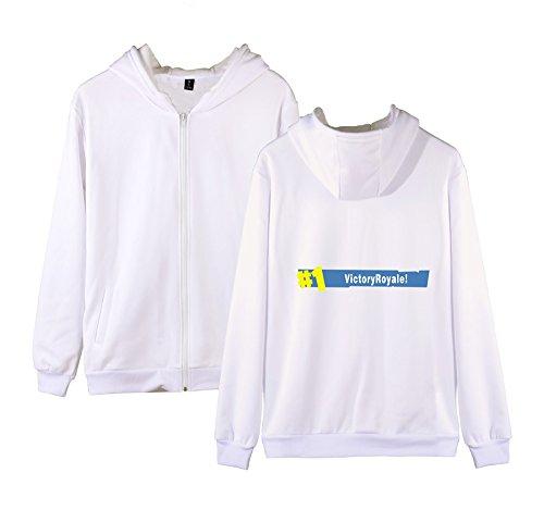 Unisex Donne Uomini Cappotto Fortnite Sweatshirts Zip Outwear Per Felpa White Allentato Pile Invernale E Con Casual Aivosen qgRZdq