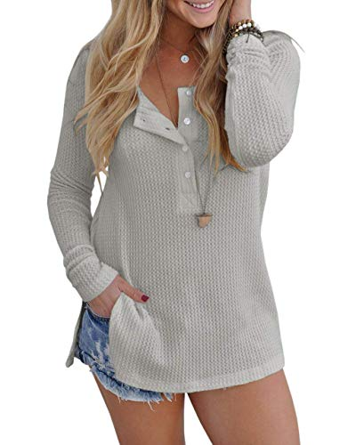 Sleeve Girls Knit Henley Long - ALALEI Womens Long Sleeve Henley Blouse Fall Button Down Pullover Knit Loose Leisure Stylish Sexy Knit Sweaters Tops (X-Large, Light gray-94)