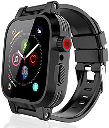 SHELLBOX Compatible for iwatch Series 6 /SE/Series 5/Series 4 waterproof case 44mm, iWatch Protective case with silicone band and Built-in Screen Protector, Soft Bands for iWatch 44mm (Black)