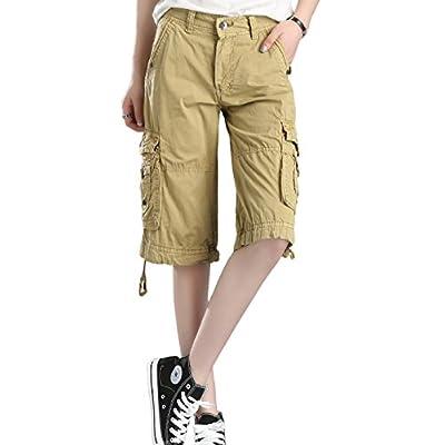 HOW'ON Women's Casual Loose Fit Twill Bermuda Cargo Shorts Multi Pocket Straight Shorts | Amazon.com