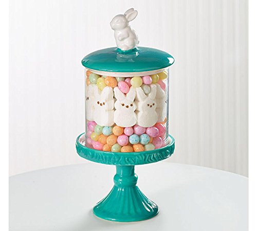 Burton and Burton Easter Decor Hand-Painted Ceramic and Glass Easter Bunny Candy Dish on Pedestal
