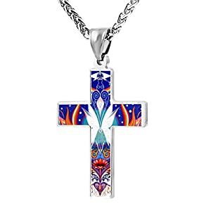 Funny Patriotic Cross Portal to the immortal Religious Lord's Zinc Jewelry Pendant Necklace