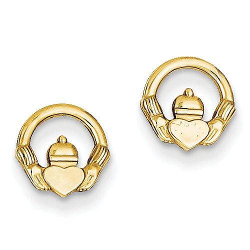 14k Yellow Gold Claddagh Post Earrings - Religious Jewelry Stud-earrings
