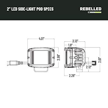 Waterproof with Wiring Harness /& Mounting REBELLED 2 Side Shooter LED Pod Kits Spot LED Cube Cree Work Light Kit 1940LM for Off-Road Trucks 40W ATV UTV Jeep