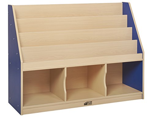 ECR4Kids Colorful Essentials 4-Tier Book Display Stand with 3 Storage Compartments, Blue by ECR4Kids