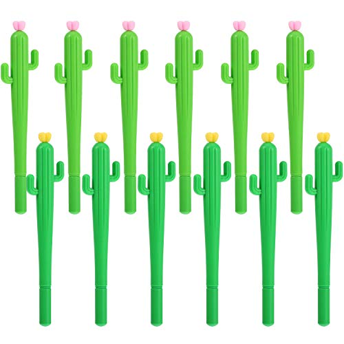TOODOO Cactus Shaped Rollerball Pen Cute Creative 0.5 mm Black Ink Gel Pens (12 - Souvenirs Novelties