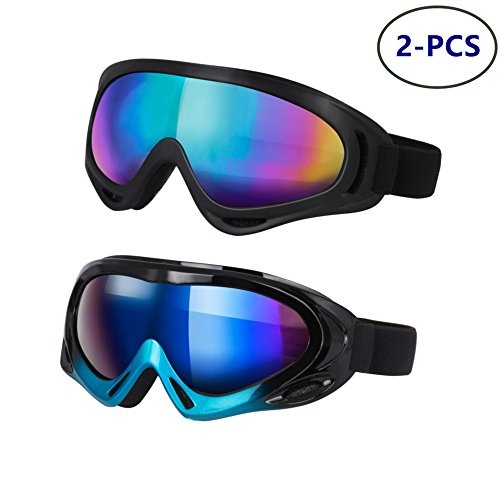 LJDJ Ski Goggles, Pack of 2 - Snowboard Adjustable UV 400 Protective Motorcycle Goggles Outdoor Sports Tactical Glasses Dust-Proof Combat Military Sunglasses for Kids, Boys & Girls, Youth, Men, ()