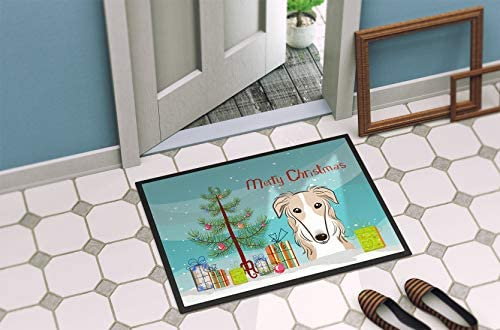 Caroline s Treasures BB1600JMAT Christmas Tree and Borzoi Indoor or Outdoor Mat 24×36, 24H X 36W, Multicolor