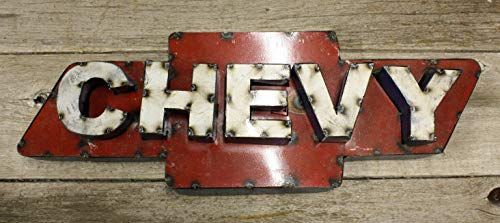 Home Decor Recycled Tin Metal Chevy Bow Tie Sign Gas Oil Garage Man Cave Home Decor Perfect for Your Farmhouse