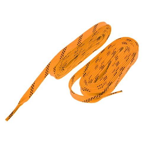 (SM SunniMix Flat Shoelace for Shoes, Skates, Boots, Hockey, Ice Skates, Inline Roller Blading Skating - Multi Colors and Sizes - Yellow, 120 inch)