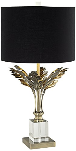 Cheri Black Drum Shade Metal Leaves Antique Brass Table Lamp - Antique Drum Table