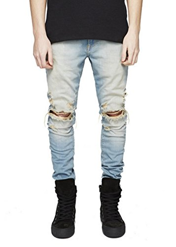 Men's Biker Skinny Distressed Ripped Slim Washed Denim Jeans
