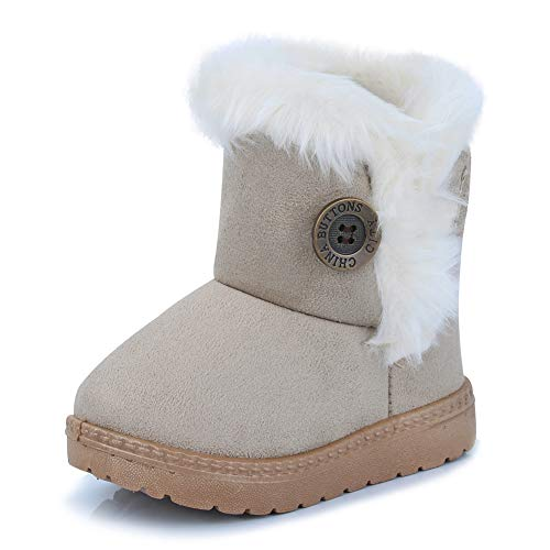 CIOR Fantiny Toddler Snow Boots for Baby Girl Fur Outdoor Slip-on Boots (Toddler/Little Kids) TX-nk-beige26 for $<!--$16.99-->