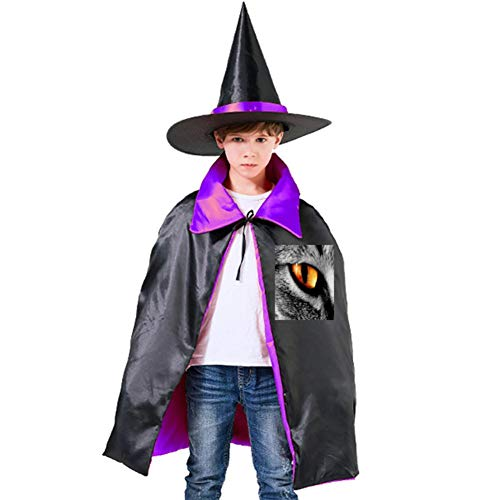 Evil Eyes of Animals Halloween Shawl and Witch Hat for Children Kids Purple ()