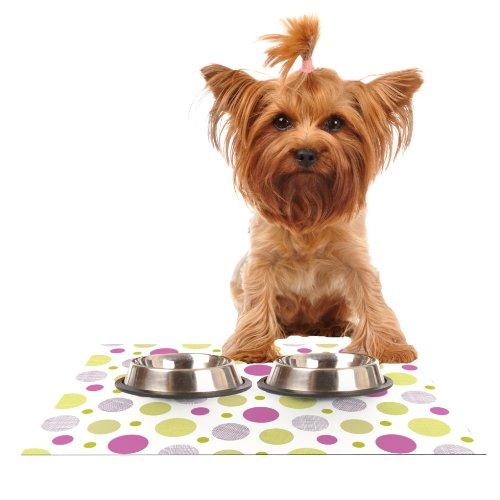 KESS InHouse Julie Hamilton Rhapsody Dot  Pink Yellow Feeding Mat for Pet Bowl, 18 by 13-Inch